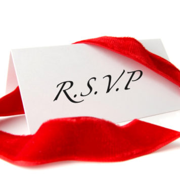 RSVP card with red ribbon