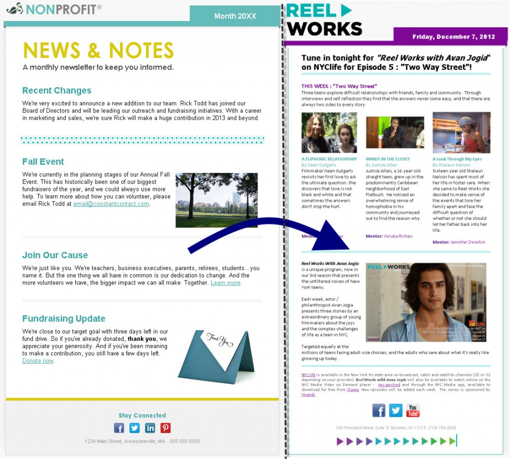 Email Design Tips For Nonprofits Constant Contact Blogs - How to make email newsletter templates