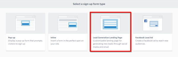 Constant Contact in-product  email list sign up tools - Lead generation Page option