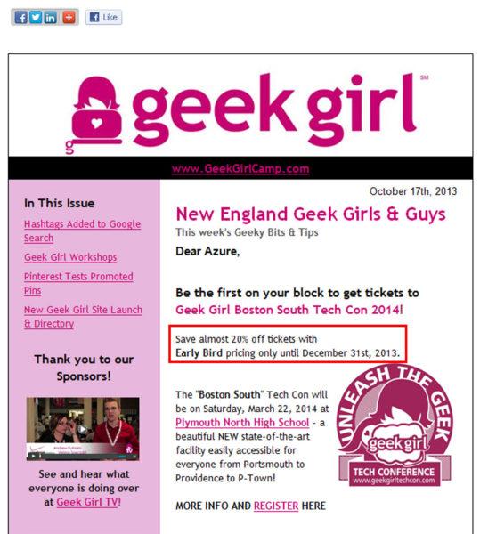 Geek Girl Event Ticket Sale