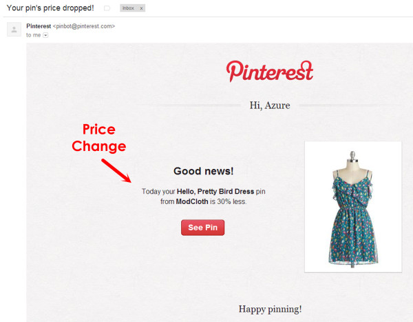 Pinterest Price Change Email