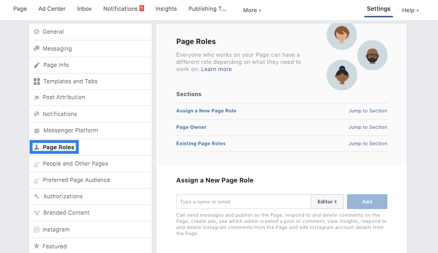 How to find Facebook Business Page page roles