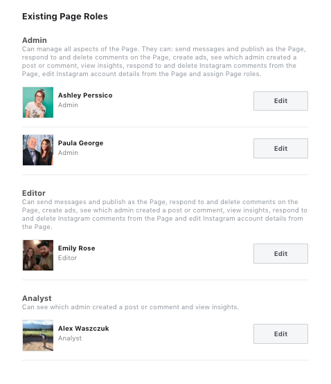 Facebook Business Page existing page roles example