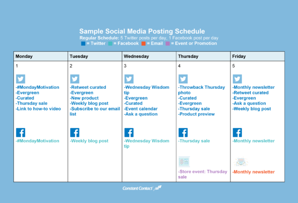 Sample Small Business Social Media Posting Schedule