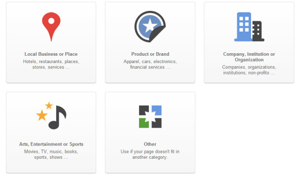 Type Google+ Pages