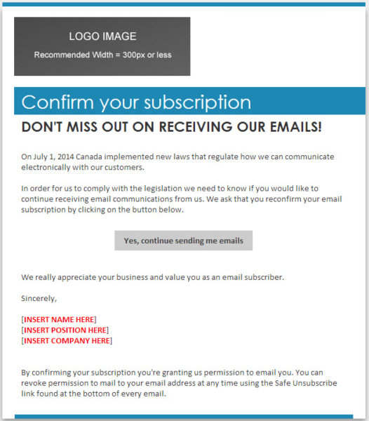 Email Template CASL