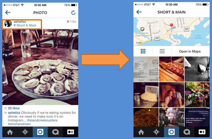 Расположение в Instagram