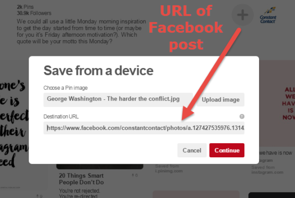 Pin a Facebook post