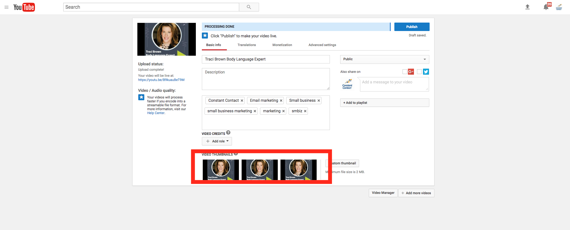 Where to upload video 52