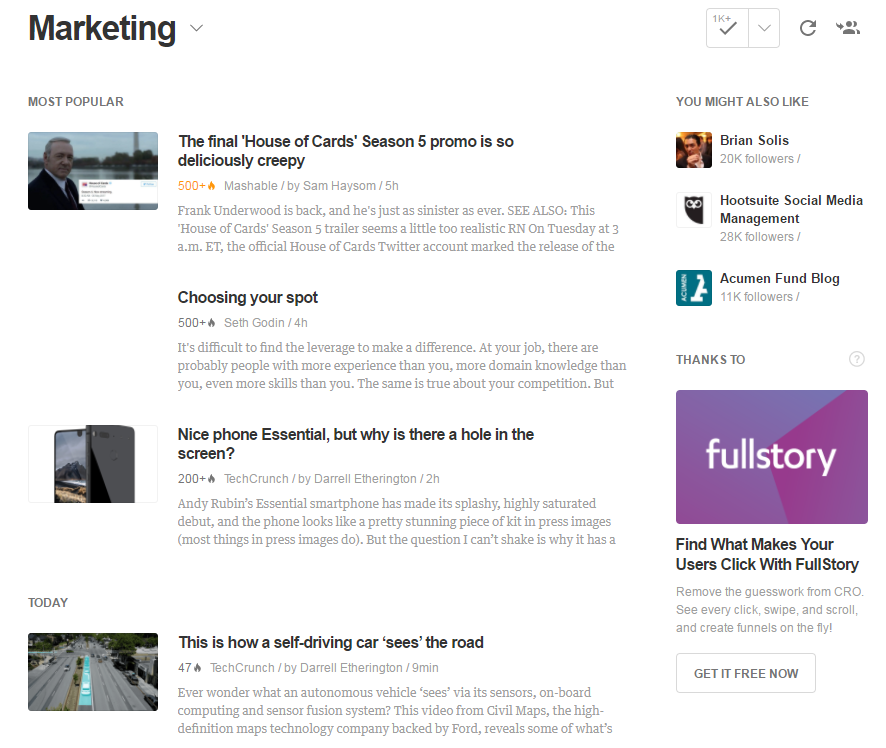 how to curate content with Feedly