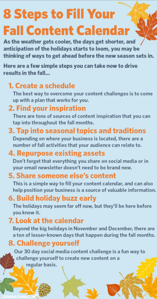 Infographic of 8 steps to fill your fall content calendar