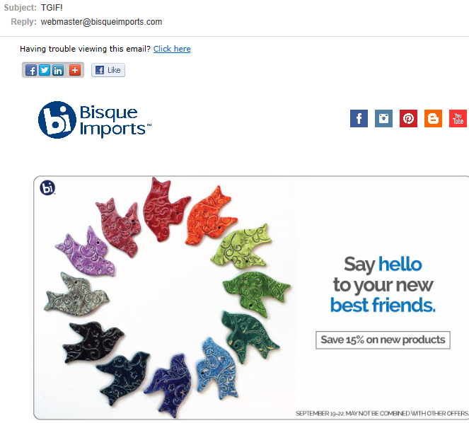 "example email subject line from Bisque Imports: ""TGIF"""