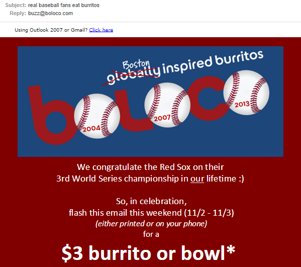 Boloco email subject using a joke