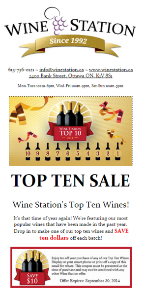 Constant Contact Email Template - Wine Station