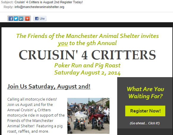 Manchester Animal Shelter subject line using a deadline