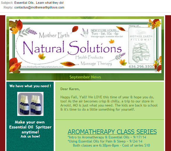 good email subject line example: Essential Oils…Learn what they do!