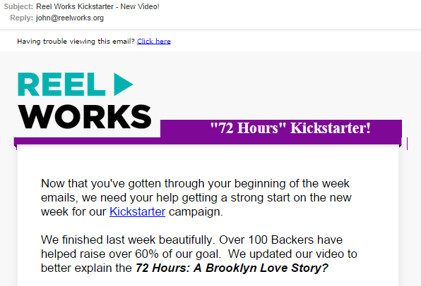 Reel Works email subject example