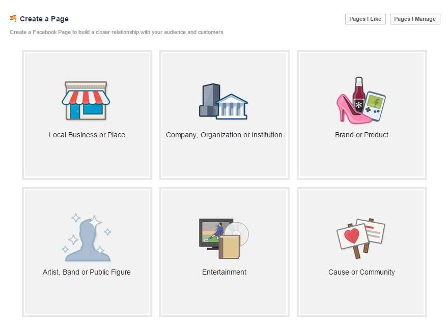 Create a Facebook Page setup