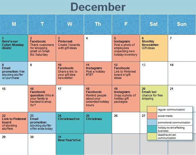 How to create a holiday social media calendar for Social media posting calendar template