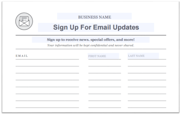 Grow Your Email List Template  Conference Sign Up Sheet Template