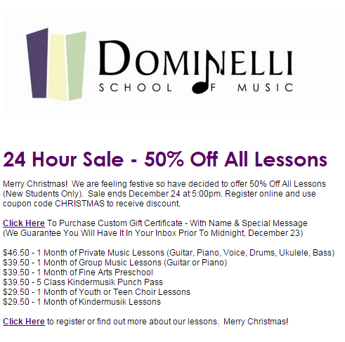 Dominelli class promotion email