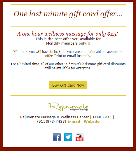 holiday last minute gift card reminder offer