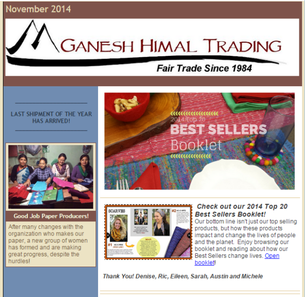 Ganesh Himal Constant COntact newsletter