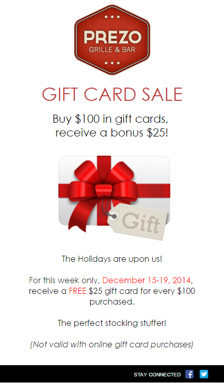 Holiday Email Idea Gift Cards