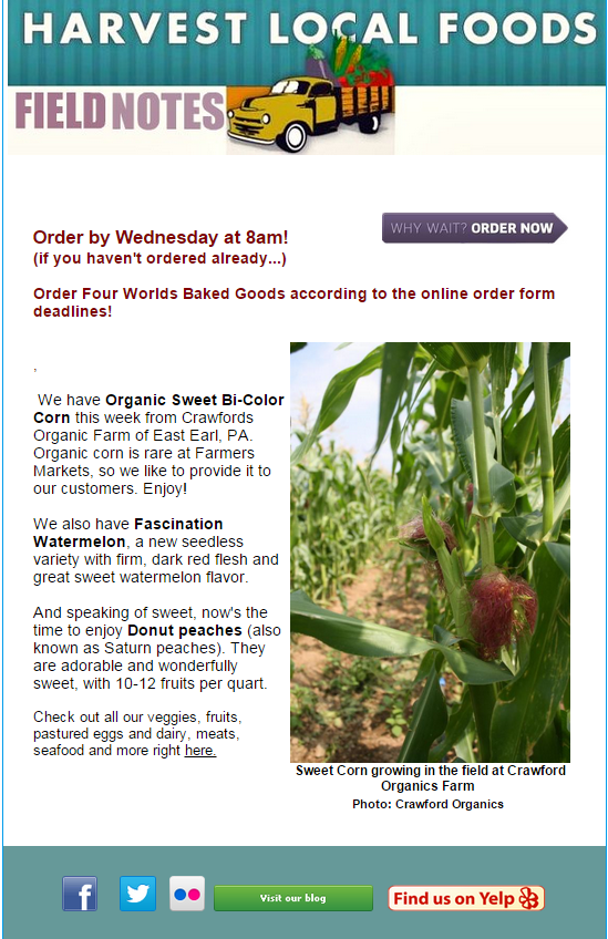 Constant Contact email newsletter from Harvest.