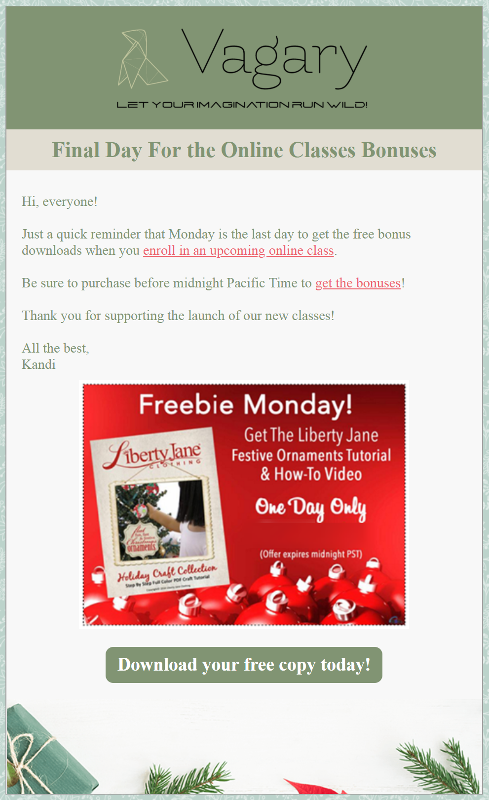 5 holiday freebie email campaign example