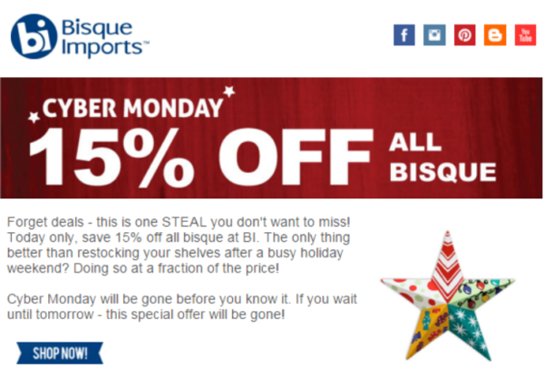 12 cyber monday promotion email example