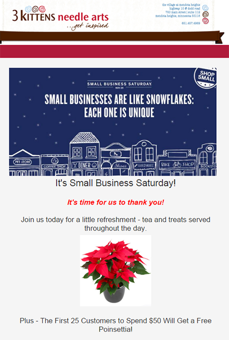 Constant Contact Small Business Saturday email