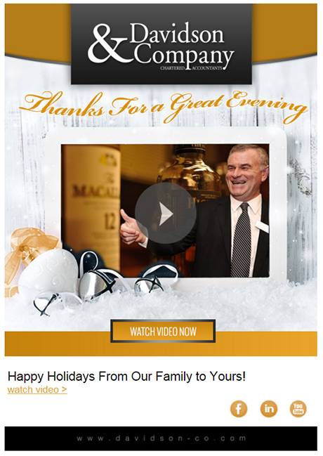Holiday email example -- celebration