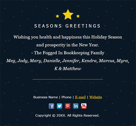 25 seasons greetings email example