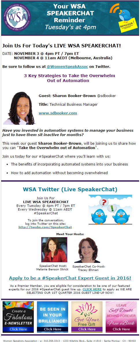 WSA speaker chat newsletter