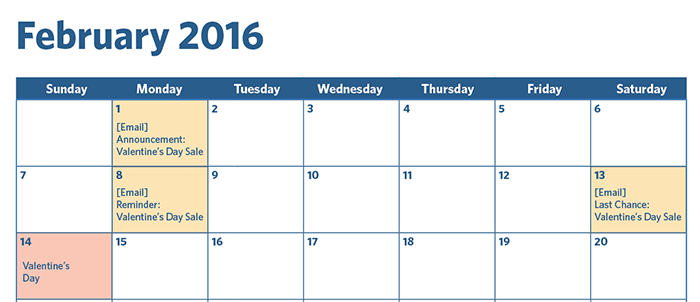 February calendar example