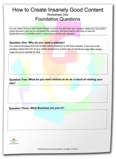 create insanely good content worksheet