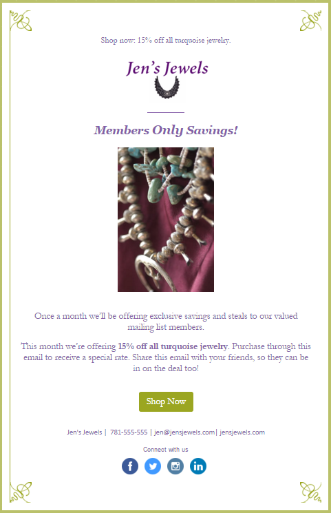 example promotional email - jen's jewels