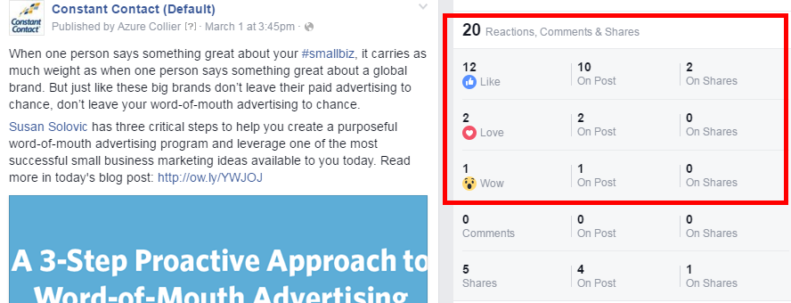 Facebook Reactions Click on Post