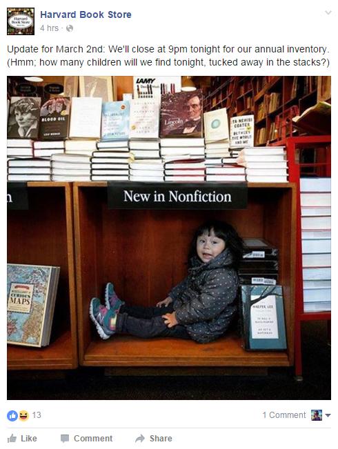 Harvard Book Store Facebook Reactions
