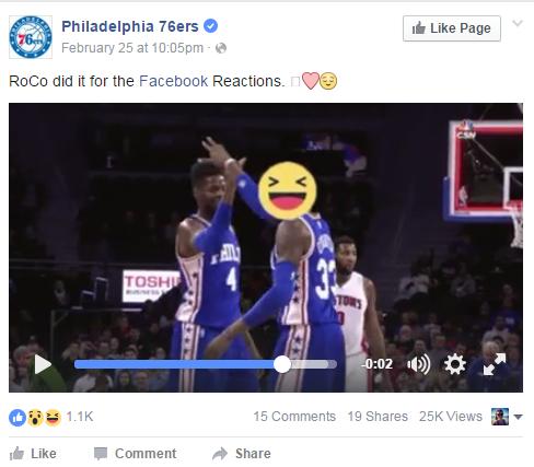 Philadelphia 76ers Facebook Reactions