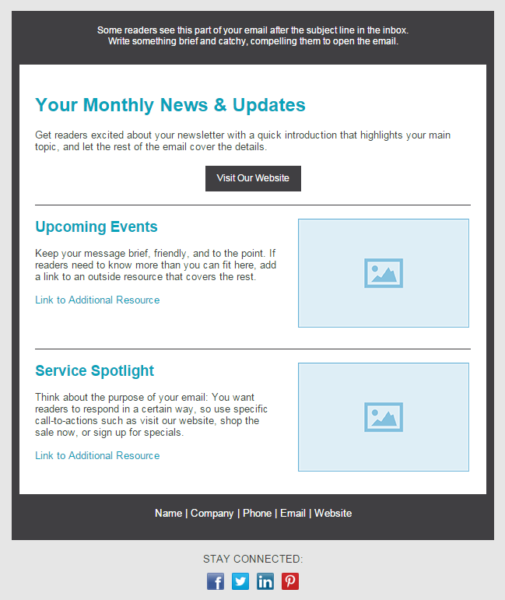 newsletter design --basic newsletter template