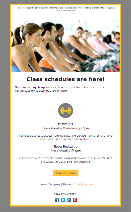 newsletter design class schedule