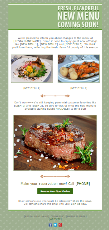 14 newsletter designs your customers will love restaurant email template spiritdancerdesigns Gallery