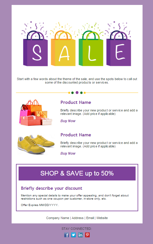 newsletter design -- retail template