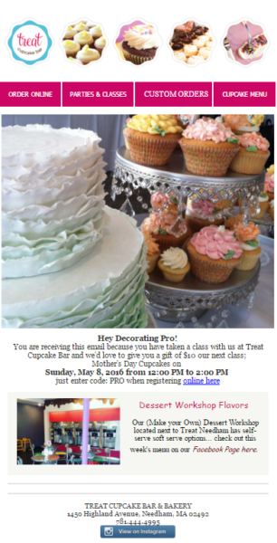 treat cupcake email design example