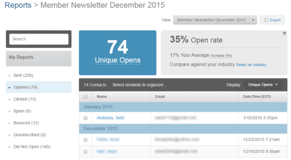 email analytics -- open rate