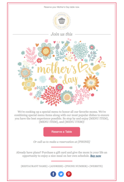 Constant Contact Mother's Day email