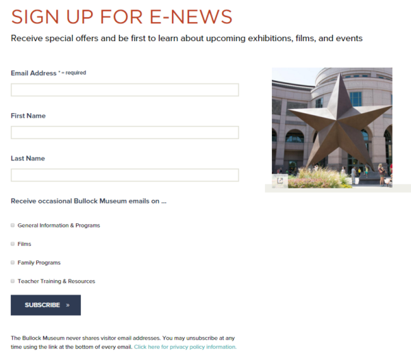 Constant Contact embeddable sign up form example