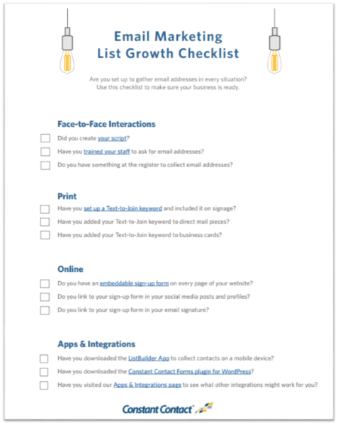 Email Marketing List Growth Checklist screenshot